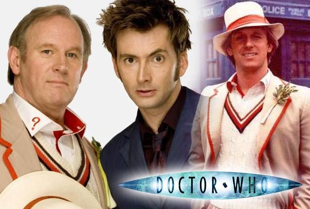 Peter Davison and David Tennant in Time Crash, and Davison as The Doctor in the 1980s.