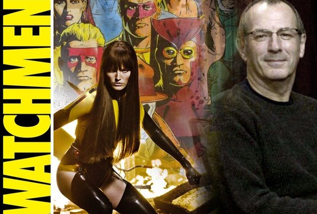 Dave Gibbons amongst his most famous creations to date - the Watchmen.