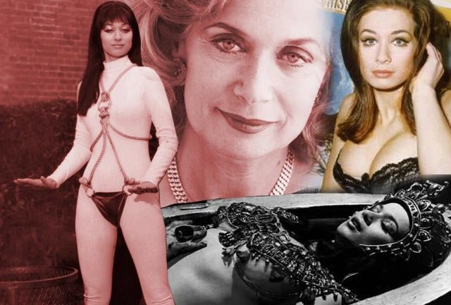 Valerie Leon (left) in an unused Zeta One costume and (lower right) as Queen Tera in Blood From The Mummy's Tomb