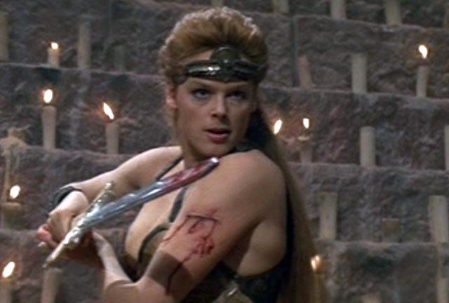 Brigitte Nielson getting stuck in as Red Sonja (1985)