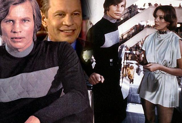 Michael York as Logan in Logan's Run (1976) and (inset) as Basil Exposition in the Austin Powers films.