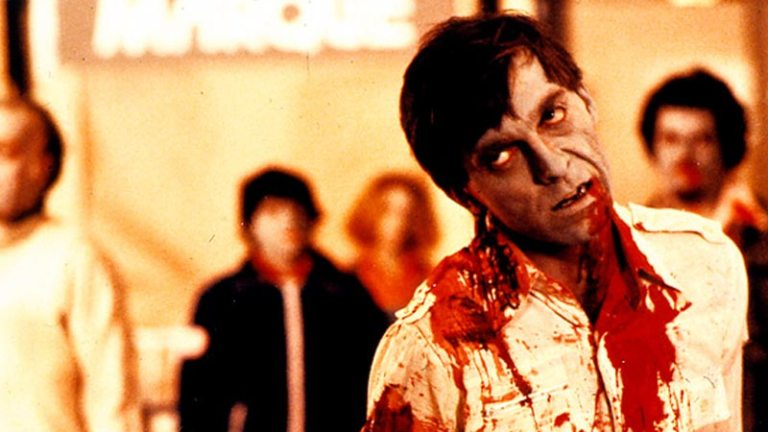 Poor old David Emgee gets it in the neck in Romero's Dawn Of The Dead (1979)