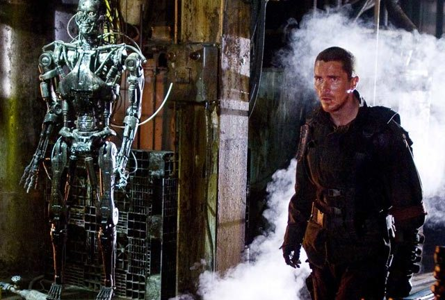 Christian Bale bearding the Terminator in its den in Salvation