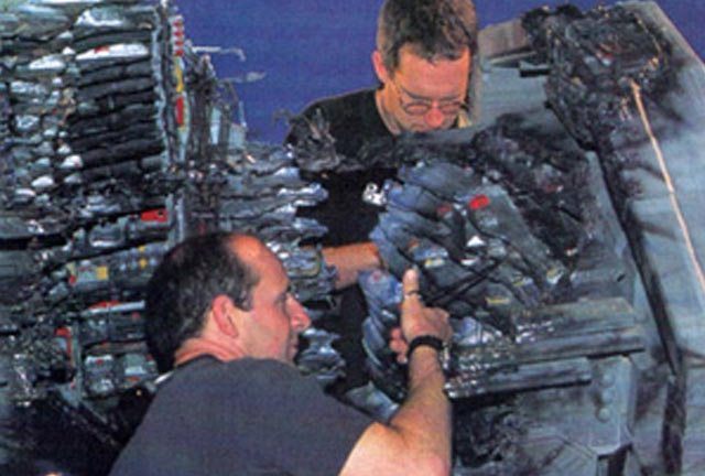 George Willis at work on the Rodger Young during the destruction sequence of Starship Troopers