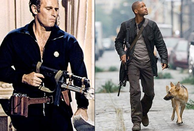 Charlton Heston in The Omega Man and Will Smith in I Am Legend