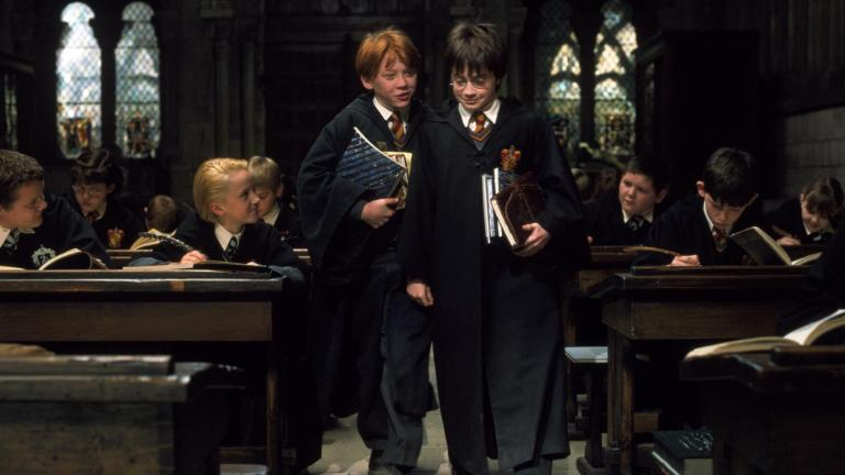 Rupert Grint as Ron Weasley and Daniel Radcliffe as Harry Potter in Harry Potter and the Sorcerer's Stone