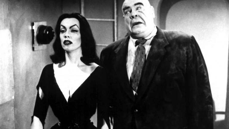 Vampira and Tor Johnson in Ed Wood's Plan 9 From Outer Space