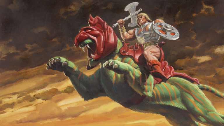 He-Man on Battle Cat in Mattel Masters of the Universe box art
