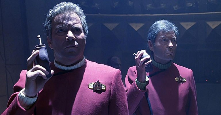 William Shatner as Kirk and DeForest Kelley as McCoy in Star Trek VI: The Undiscovered Country