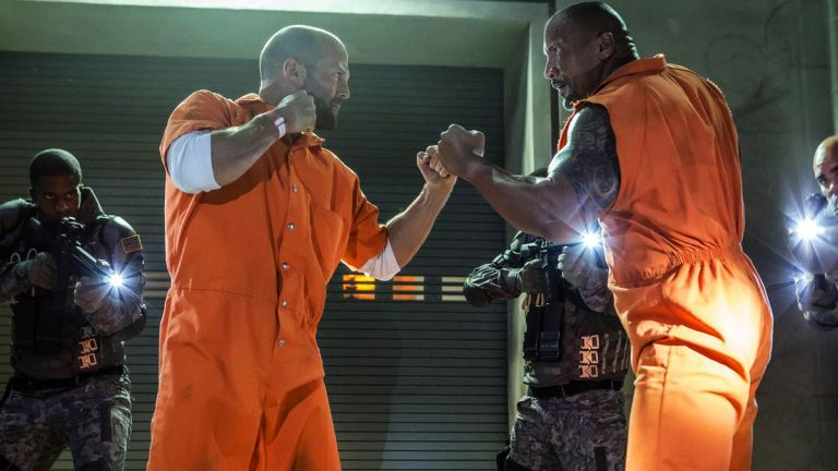 Jason Statham and Dwayne Johnson in The Fate of the Furious
