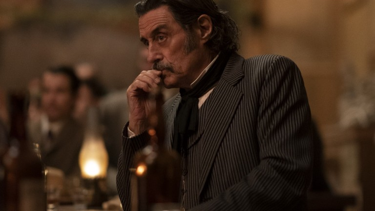 Ian McShane and cast members of HBO's Deadwood