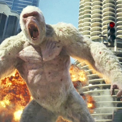 Rampage On The Set With Dwayne Johnson For The Giant Monster