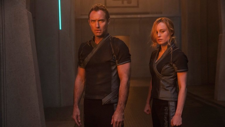 Jude Law and Brie Larson in Captain Marvel