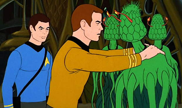 Dr. McCoy and Captain Kirk on Star Trek: The Animated Series.
