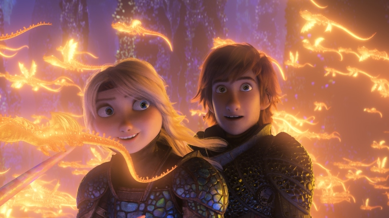 Hiccup and Astrid in How to Train Your Dragon: The Hidden World