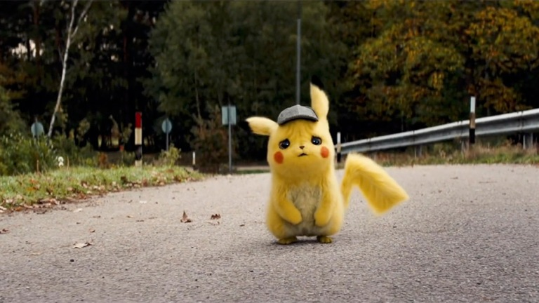 Pikachu alone on the road from Pokemon: Detective Pikachu