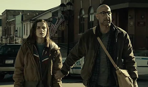 Kiernan Shipka and Stanley Tucci in Netflix's The Silence