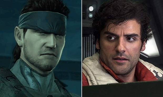 Solid Snake in Metal Gear Solid, Oscar Isaac in Star Wars: The Last Jedi