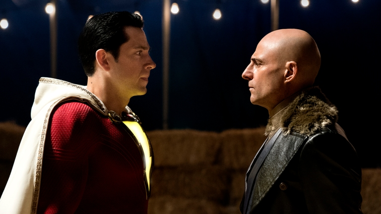 Shazam (Zachary Levi) Meets Dr. Sivana (Mark Strong)