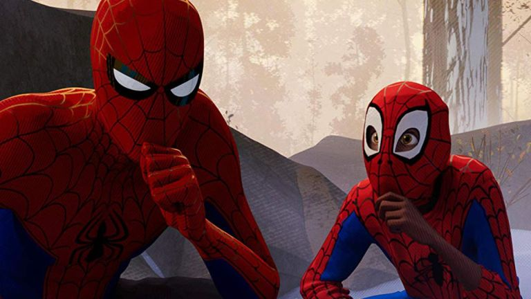 Spider-Man: Into the Spider-Verse Peter and Miles squatting