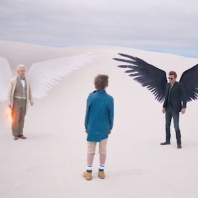 Aziraphale and Crowley speak to Adam in Good Omens