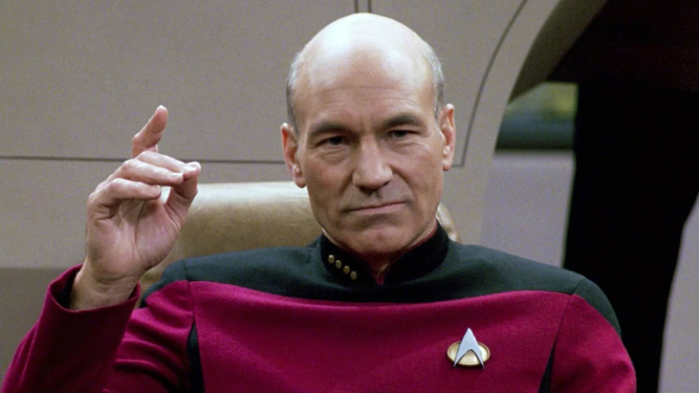 Patrick Stewart as Captain Jean-Luc Picard on Star Trek: The Next Generation