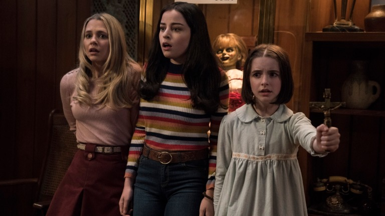 Madison Iseman, Katie Sarife, Annabelle and Mckenna Grace in Annabelle Comes Home