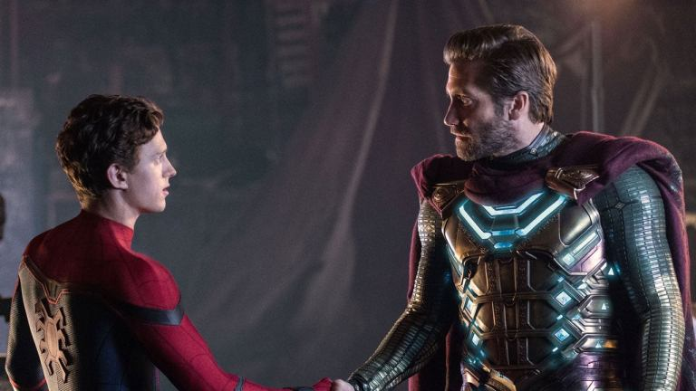 Jake Gyllenhaal as Mysterio and Tom Holland as Peter Parker in Spider-Man: Far From Home