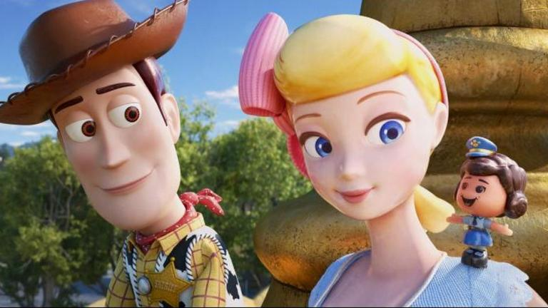 Woody (Tom Hanks), Bo (Annie Potts) and Giggle (Ally Maki) in Toy Story 4