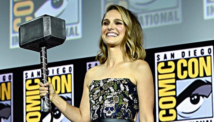 Natalie Portman with Thor's hammer at SDCC 2019