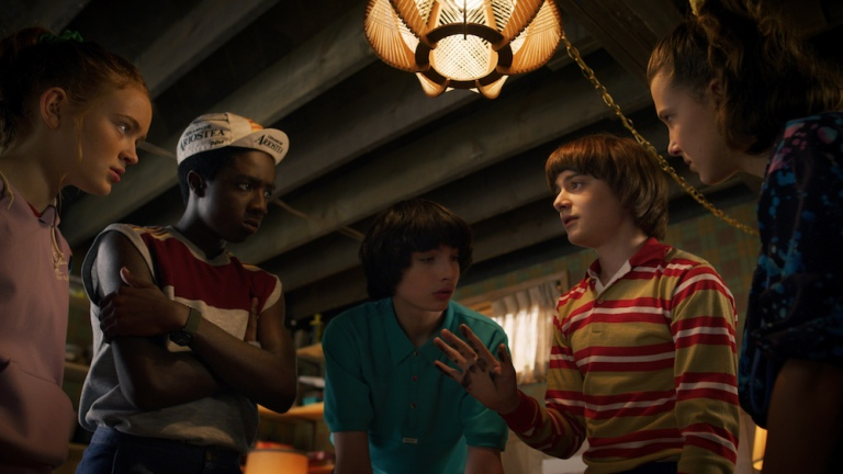 Max, Lucas, Mike, Will, and Eleven in Stranger Things 3