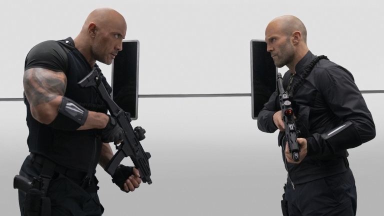 Dwayne Johnson and Jason Statham Stare Each Other Down in Hobbs & Shaw