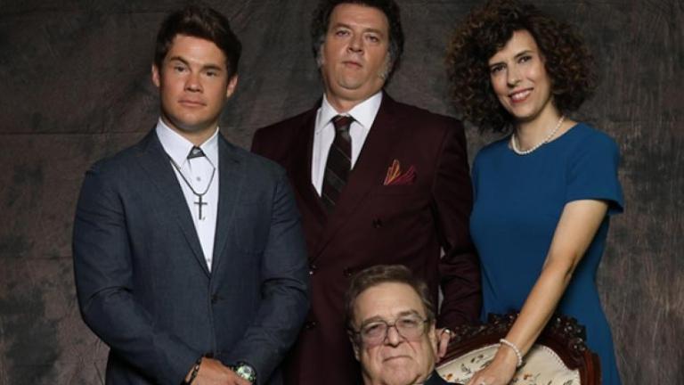 Adam Devine and Edi Patterson with co-stars Danny McBride and John Goodman