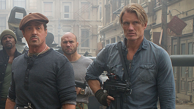 Sylvester Stallone and Dolph Lundgren in The Expendables 2; Lionsgate