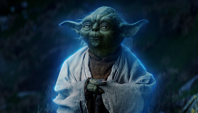 Yoda as a Force Ghost in Star Wars: The Last Jedi