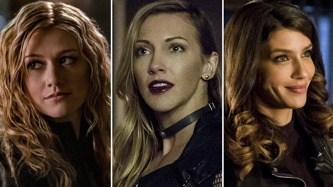 Katherine McNamara, Katie Cassidy an Juliana Harkavy on Arrow; The CW