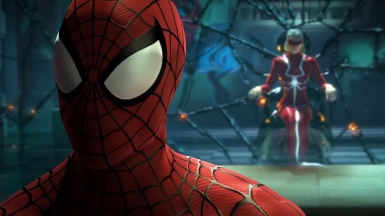 Spider-Man and Madame Web in the Spider-Verse