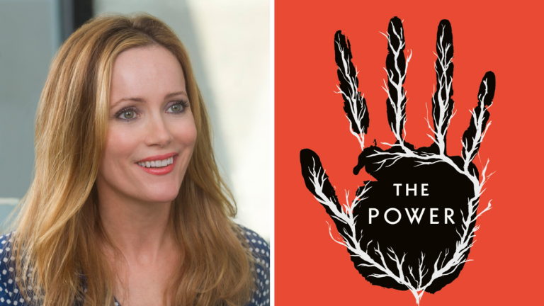 Actress Leslie Mann and the Cover of Naomi Alderman's Book The Power