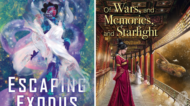 The Book Covers for Escaping Exodus and Of Wars, and Memories, and Starlight