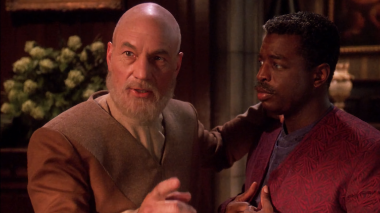 Picard and Geordi in Star Trek: The Next Generation Finale