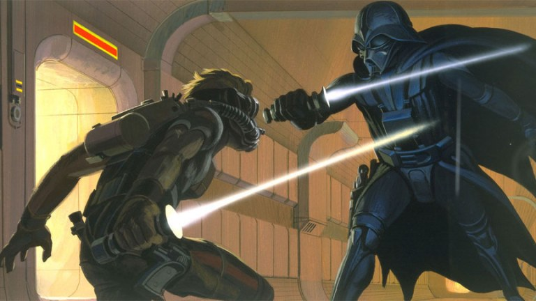 Star Wars Vader Versus Luke Concept Art by Ralph Mcquarrie