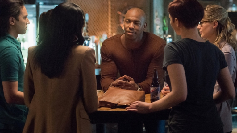 Mehcad Brooks as James Olsen/Guardian Surrounded by the Rest of the Supergirl Cast in Season 5 Episode 4