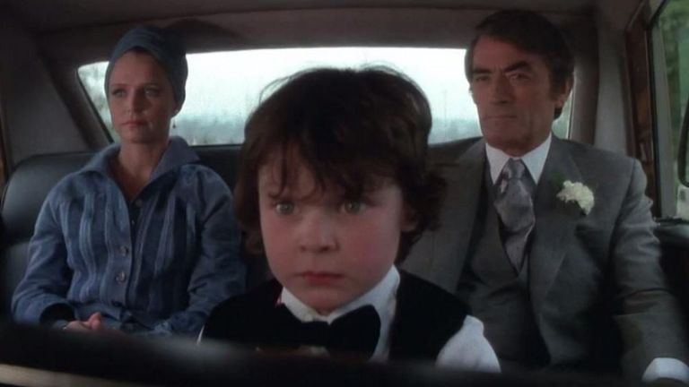 Lee Remick, Harvey Stephens and Gregory Peck in The Omen