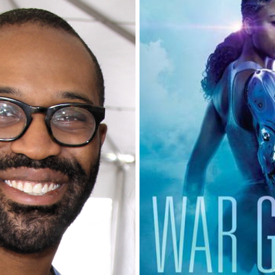 Author Tochi Onyebuchi and the cover for his book War Girls