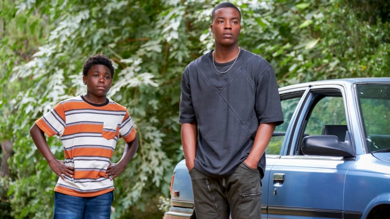Jalyn Hall as Dillon and Daniel Ezra as Spencer in All American Season 2 Episode 7