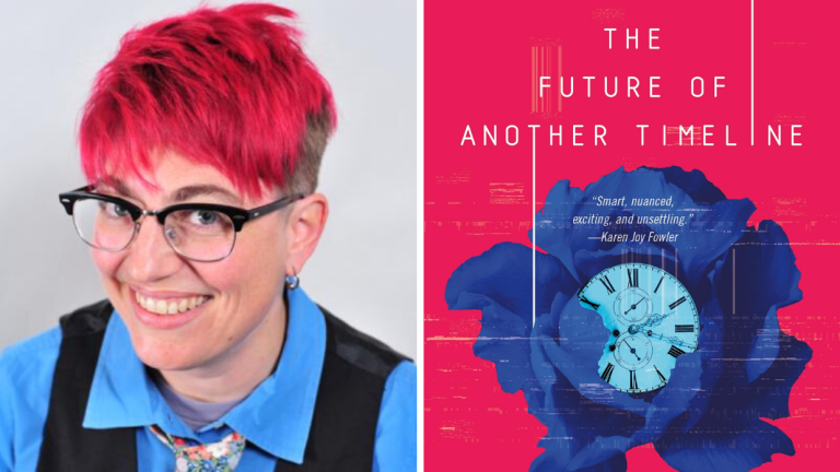 Author Annalee Newitz and the cover for their book The Future of Another Timeline