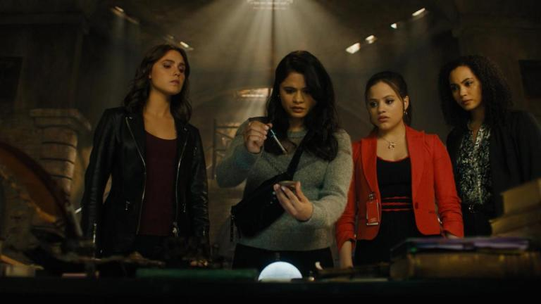 Poppy Drayton as Abigael, Melonie Diaz as Melanie, Sarah Jeffery as Maggie, and Madeleine Mantock as Macy in Charmed Season 2