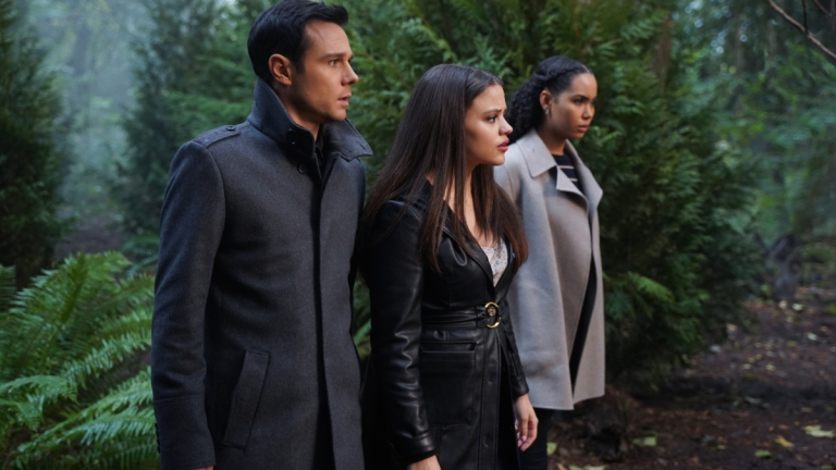 Rupert Evans as Harry, Sarah Jeffery as Maggie, and Madeleine Mantock as Macy in Charmed Season 2 Episode 7
