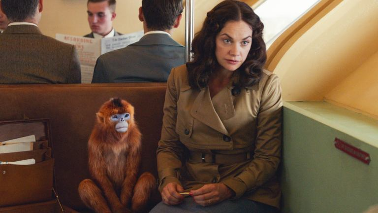 Mrs. Coulter with her golden monkey daemon on HBO's His Dark Materials