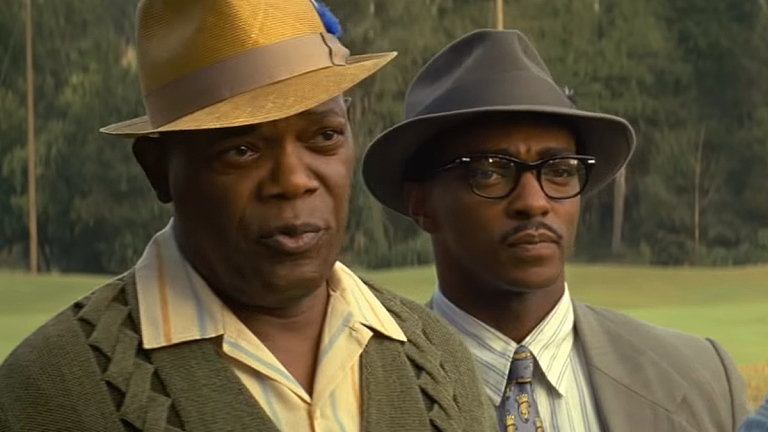 Samuel L. Jackson and Anthony Mackie in The Banker; Apple TV+